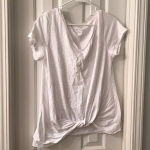 Maurices White Twist Front Shirt